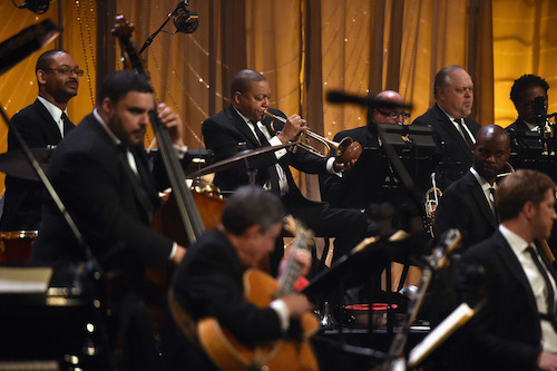 The Jazz at Lincoln Center Orchestra, led by Wynton Marsalis, performs at the April 26 concert.